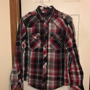 Men's plaid print  button up shirt